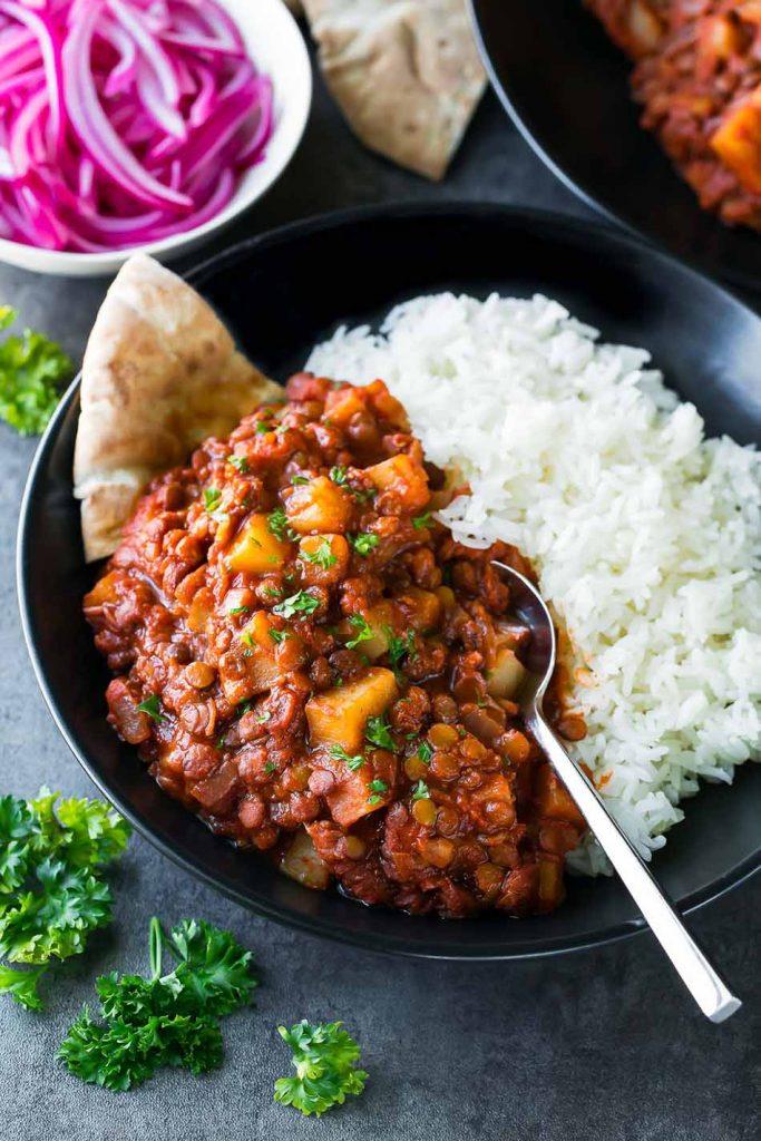 Vegan madras lentils